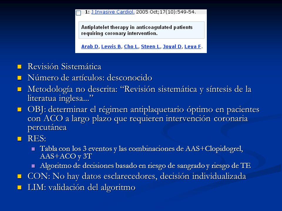 Revisión Sistemática Revisión Sistemática Número de artículos: desconocido Número de artículos: desconocido Metodología no descrita: Revisión sistemát