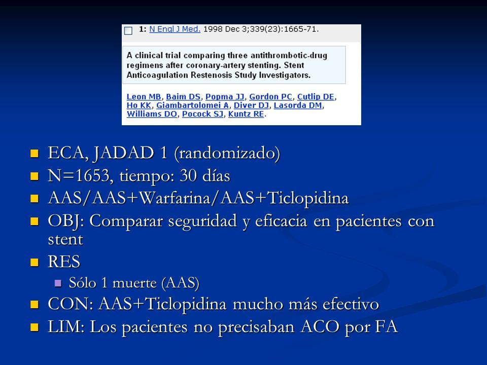ECA, JADAD 1 (randomizado) ECA, JADAD 1 (randomizado) N=1653, tiempo: 30 días N=1653, tiempo: 30 días AAS/AAS+Warfarina/AAS+Ticlopidina AAS/AAS+Warfar