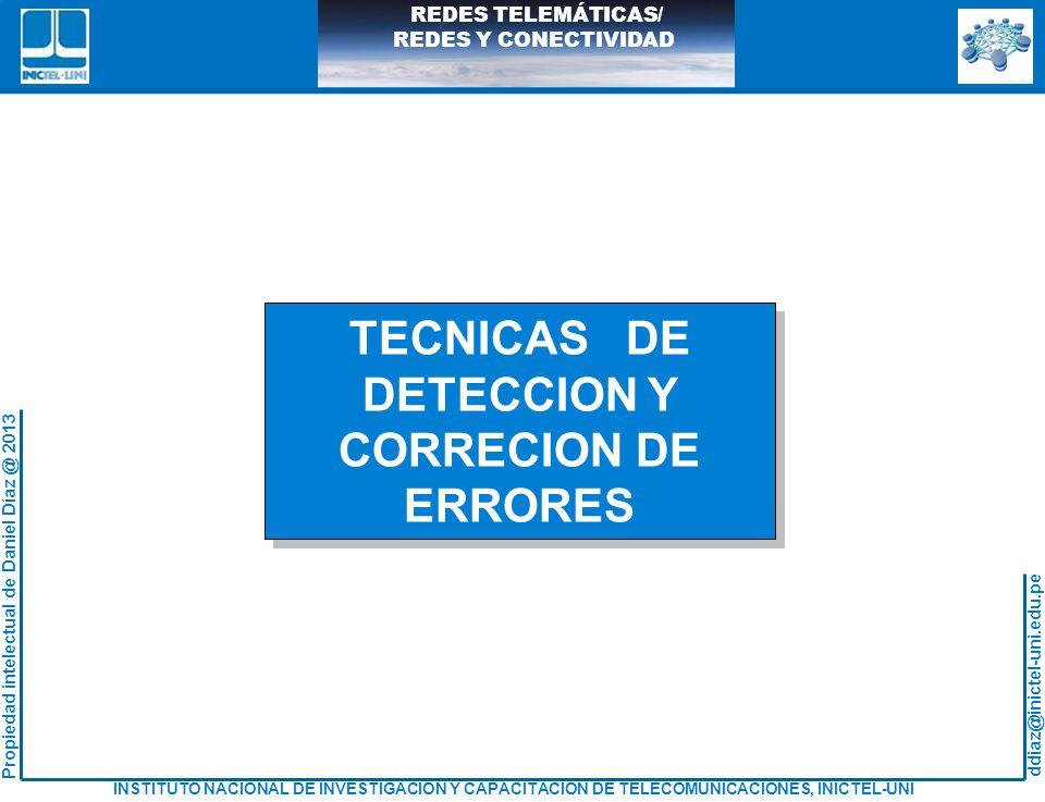 ddiaz@inictel-uni.edu.pe INSTITUTO NACIONAL DE INVESTIGACION Y CAPACITACION DE TELECOMUNICACIONES, INICTEL-UNI Propiedad intelectual de Daniel Díaz @ 2013 REDES TELEMÁTICAS/ REDES Y CONECTIVIDAD VALORES DEL CAMPO TIPO (*) 0101 ~ 01FF Experimental 0800 IPv4 0806 ARP 8035 RARP 86DD IPv6 880B PPP 8847 MPLS Unicast 8848 MPLS Multicast (*) Todas las asignaciones dado por IANA (Internet Assigned Numbers Authority) en: http://www.iana.org/numbers.htm Más información en: http://www.iana.org/assignments/ethernet-numbers