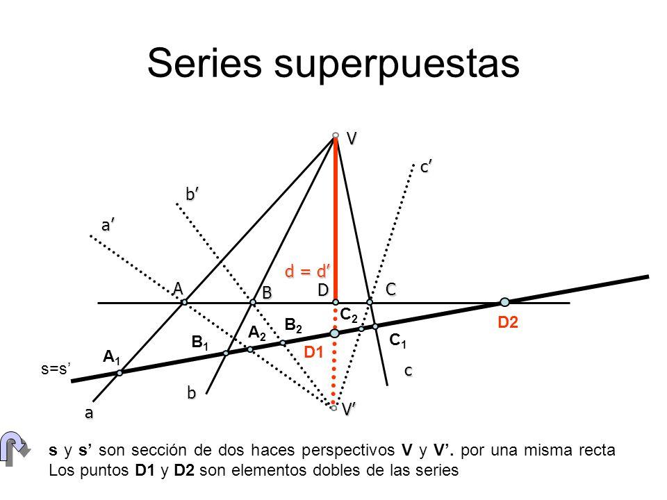 Una cónica está dada por los puntos V, V, A, B y C.