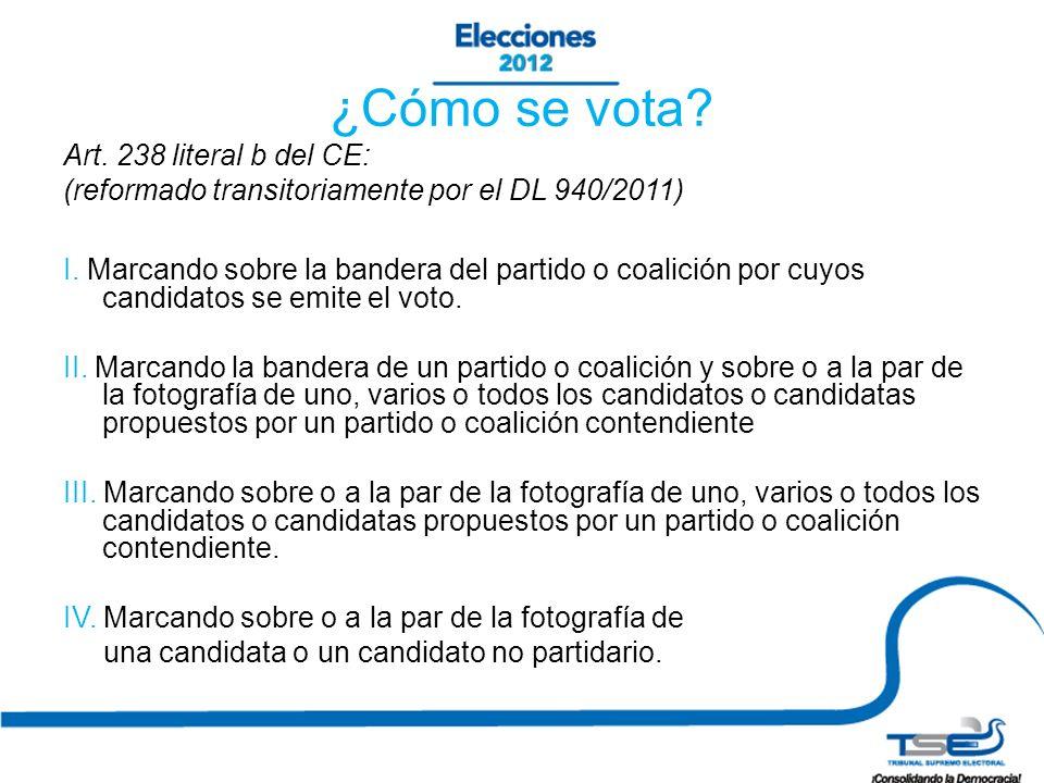 ¿Cómo se vota.Art. 238 literal b del CE: (reformado transitoriamente por el DL 940/2011) I.