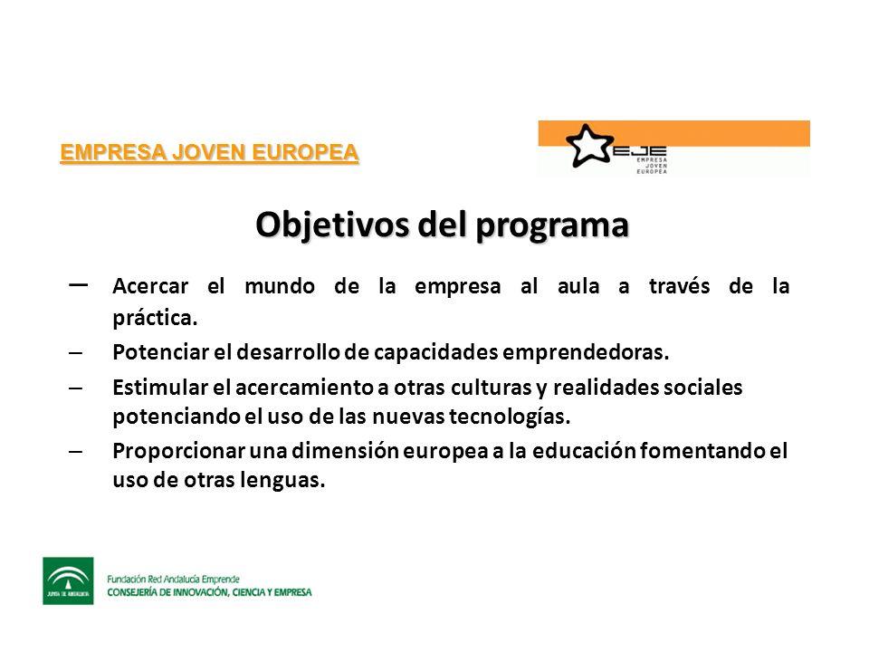 EMPRESA JOVEN EUROPEA Objetivos del programa – Acercar el mundo de la empresa al aula a través de la práctica.