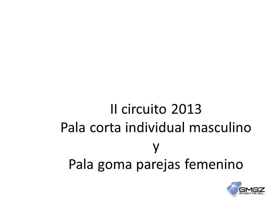 II circuito 2013 Pala corta individual masculino y Pala goma parejas femenino