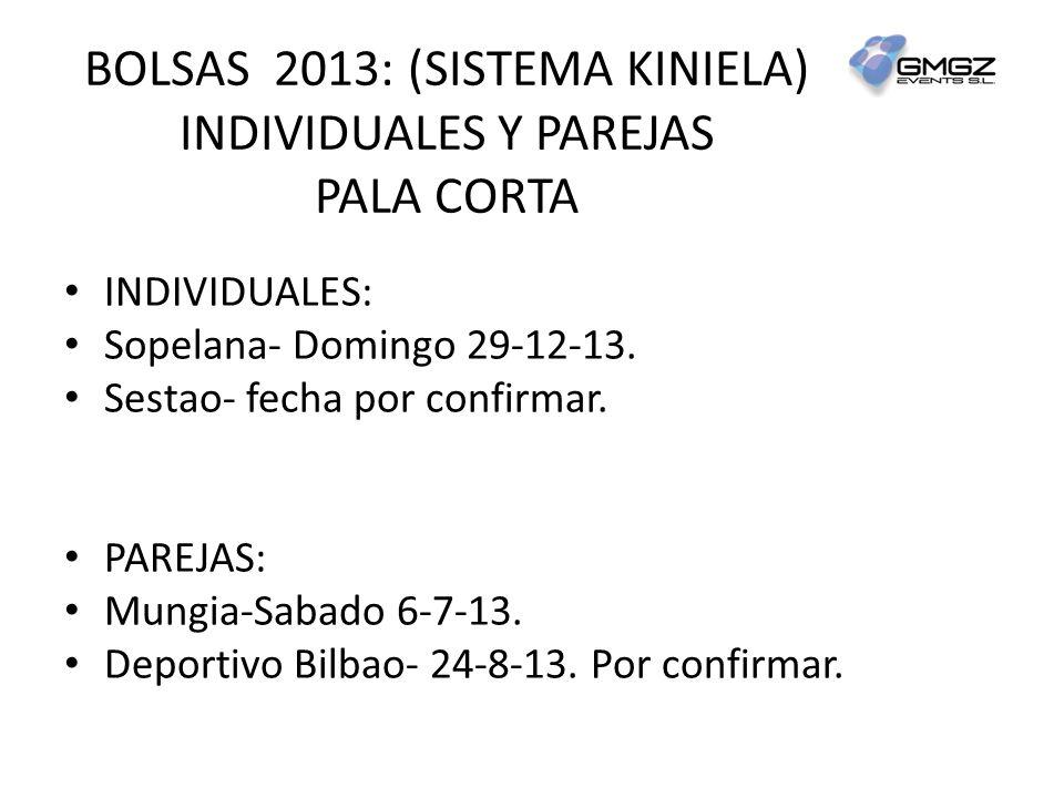 BOLSAS 2013: (SISTEMA KINIELA) INDIVIDUALES Y PAREJAS PALA CORTA INDIVIDUALES: Sopelana- Domingo 29-12-13.