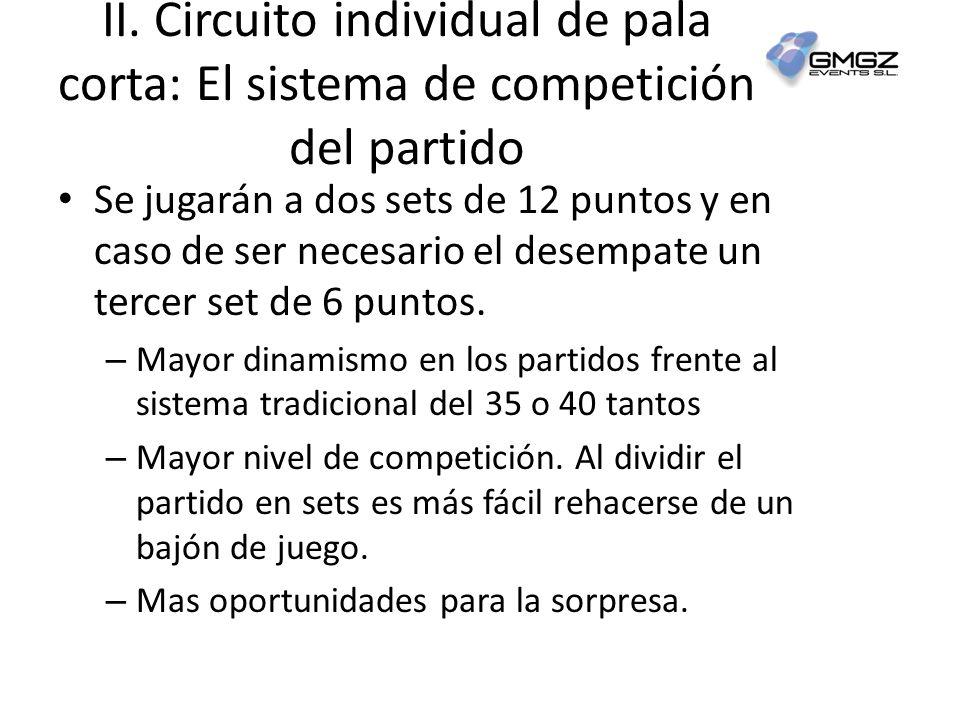 II. Circuito individual de pala corta: El sistema de competición del partido Se jugarán a dos sets de 12 puntos y en caso de ser necesario el desempat