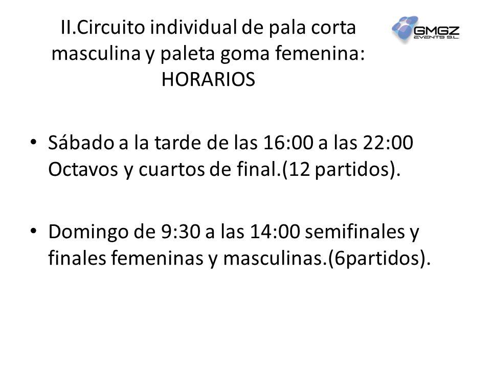 II.Circuito individual de pala corta masculina y paleta goma femenina: HORARIOS Sábado a la tarde de las 16:00 a las 22:00 Octavos y cuartos de final.(12 partidos).