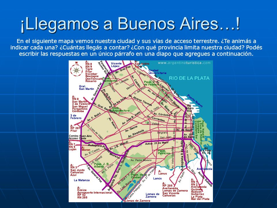 ¡Llegamos a Buenos Aires…! En el siguiente mapa vemos nuestra ciudad y sus vías de acceso terrestre. ¿Te animás a indicar cada una? ¿Cuántas llegás a