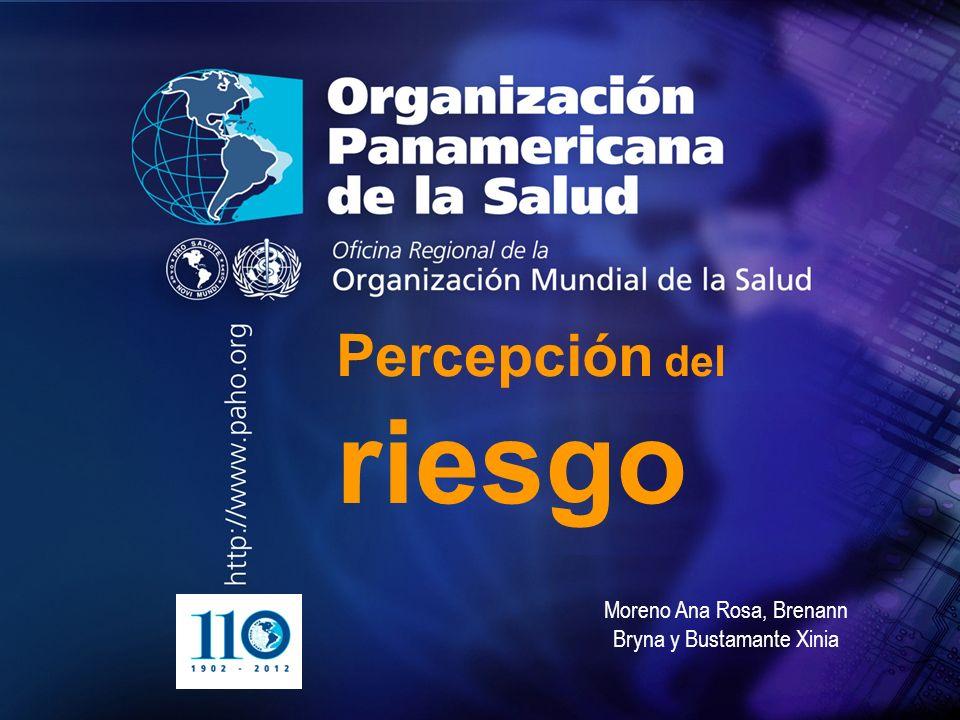 2004 Organización Panamericana de la Salud.... Percepción del riesgo Moreno Ana Rosa, Brenann Bryna y Bustamante Xinia