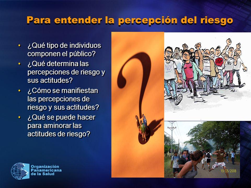 2004 Organización Panamericana de la Salud Para entender la percepción del riesgo ¿Qué tipo de individuos componen el público? ¿Qué determina las perc