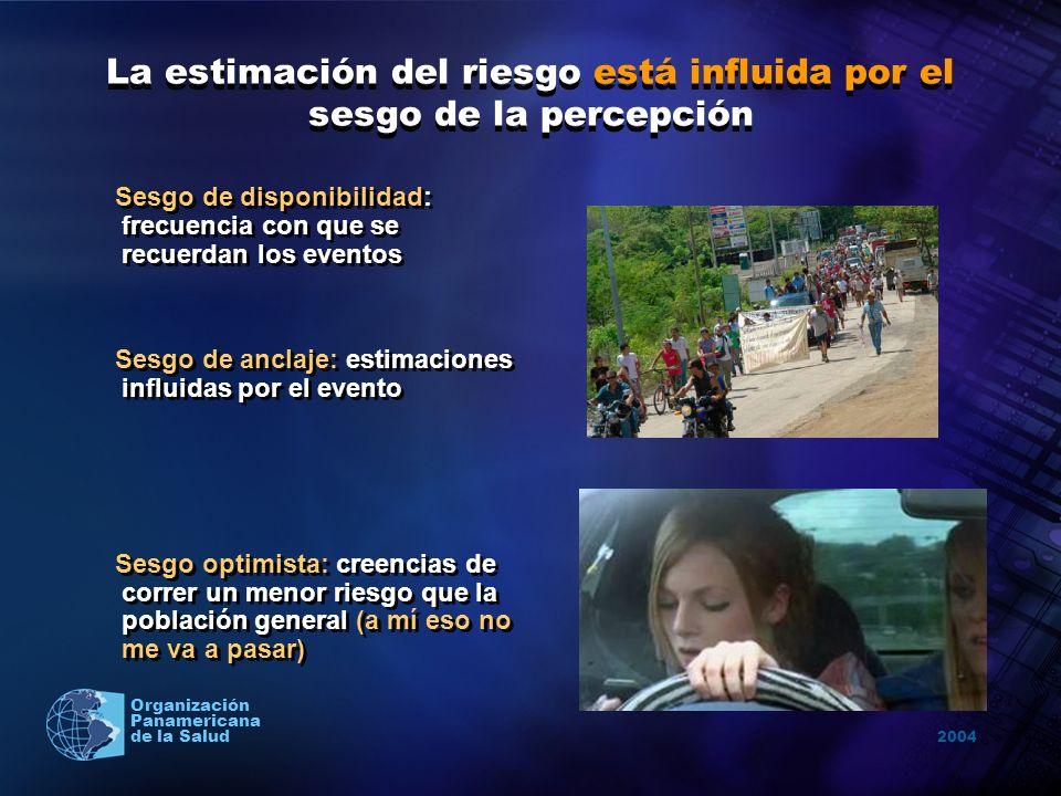 2004 Organización Panamericana de la Salud La estimación del riesgo está influida por el sesgo de la percepción Sesgo de disponibilidad: frecuencia co