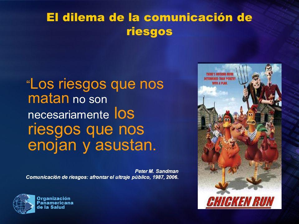 2004 Organización Panamericana de la Salud El dilema de la comunicación de riesgos Los riesgos que nos matan no son necesariamente los riesgos que nos