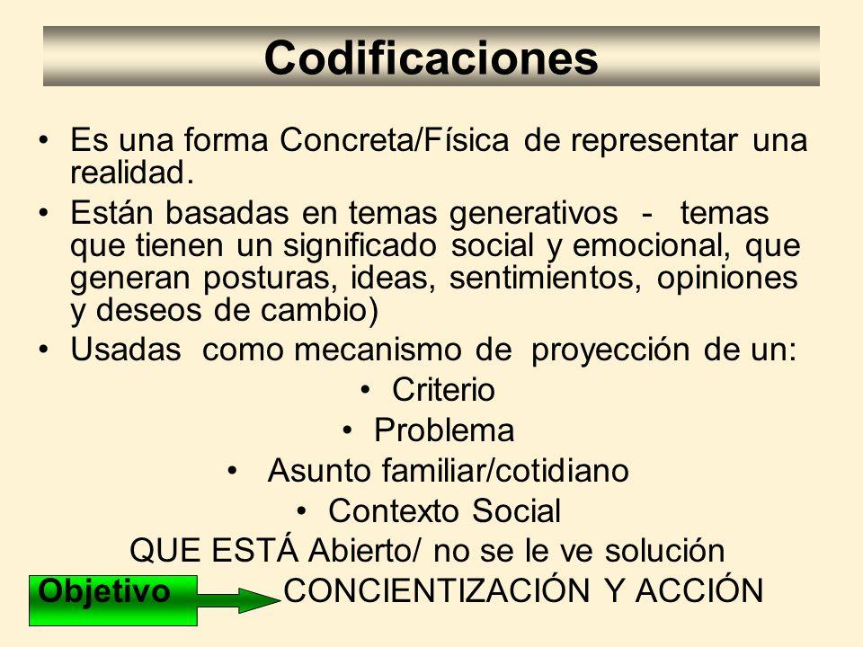 Codificaciones Es una forma Concreta/Física de representar una realidad. Están basadas en temas generativos - temas que tienen un significado social y