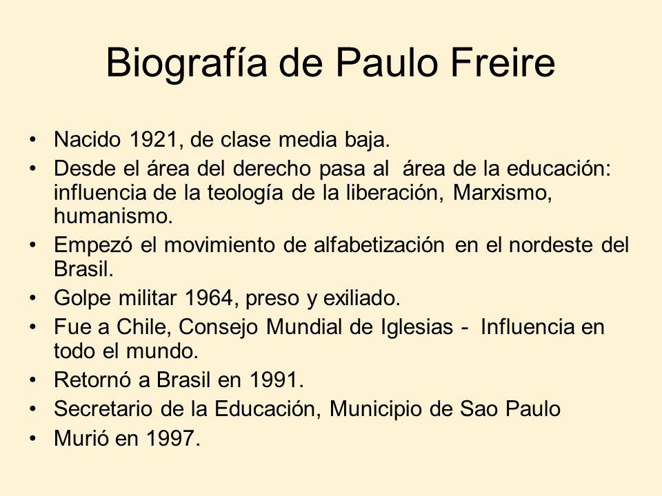 Biografía de Paulo Freire Nacido 1921, de clase media baja. Desde el área del derecho pasa al área de la educación: influencia de la teología de la li