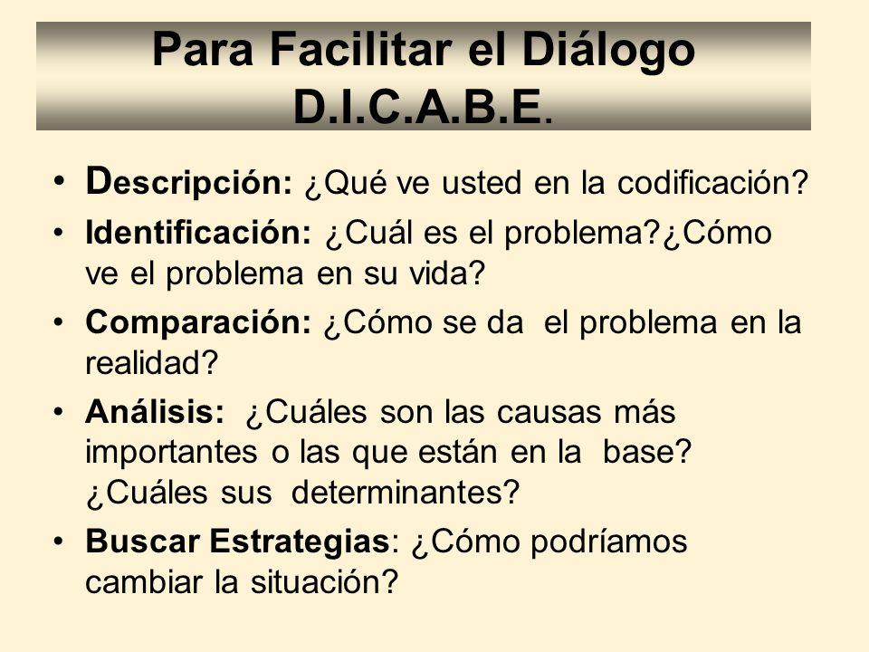 Para Facilitar el Diálogo D.I.C.A.B.E. D escripción: ¿Qué ve usted en la codificación? Identificación: ¿Cuál es el problema?¿Cómo ve el problema en su