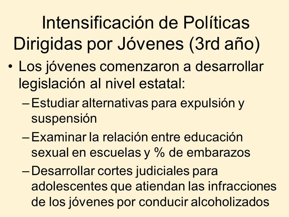 Intensificación de Políticas Dirigidas por Jóvenes (3rd año) Los jóvenes comenzaron a desarrollar legislación al nivel estatal: –Estudiar alternativas