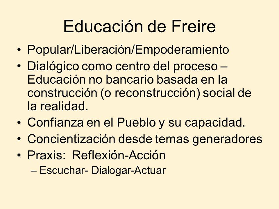 Educación de Freire Popular/Liberación/Empoderamiento Dialógico como centro del proceso – Educación no bancario basada en la construcción (o reconstru