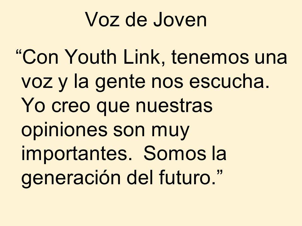 Voz de Joven Con Youth Link, tenemos una voz y la gente nos escucha. Yo creo que nuestras opiniones son muy importantes. Somos la generación del futur