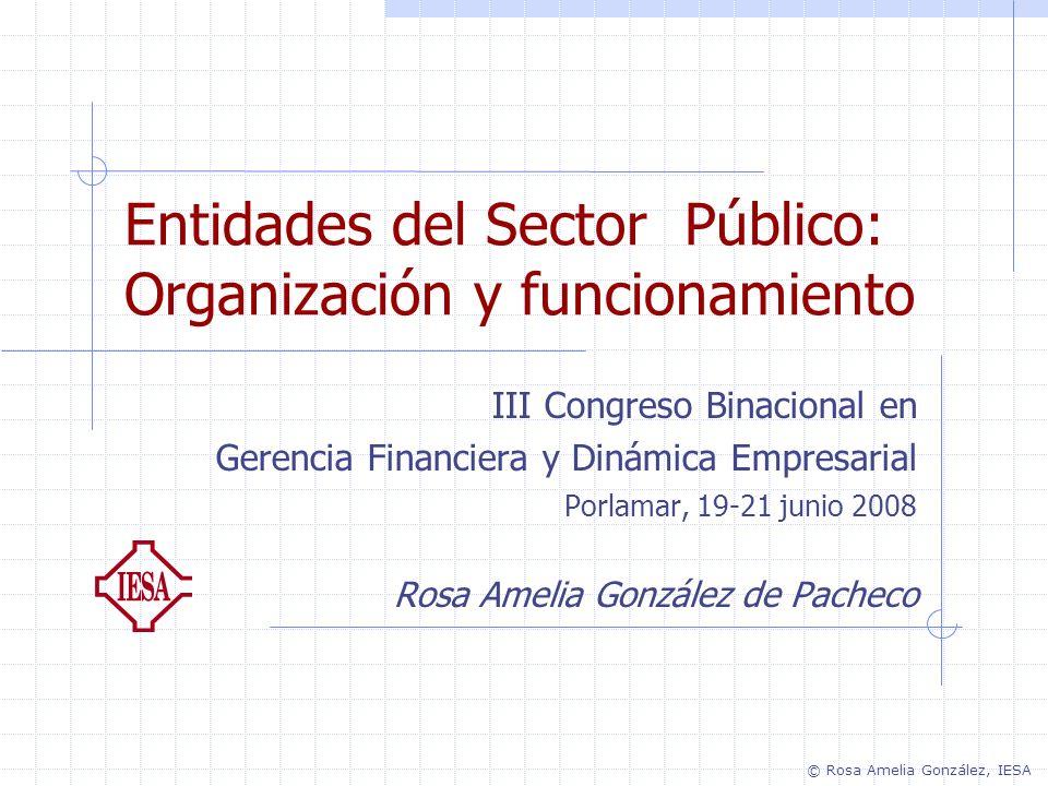 Entidades del Sector Público: Organización y funcionamiento III Congreso Binacional en Gerencia Financiera y Dinámica Empresarial Porlamar, 19-21 juni