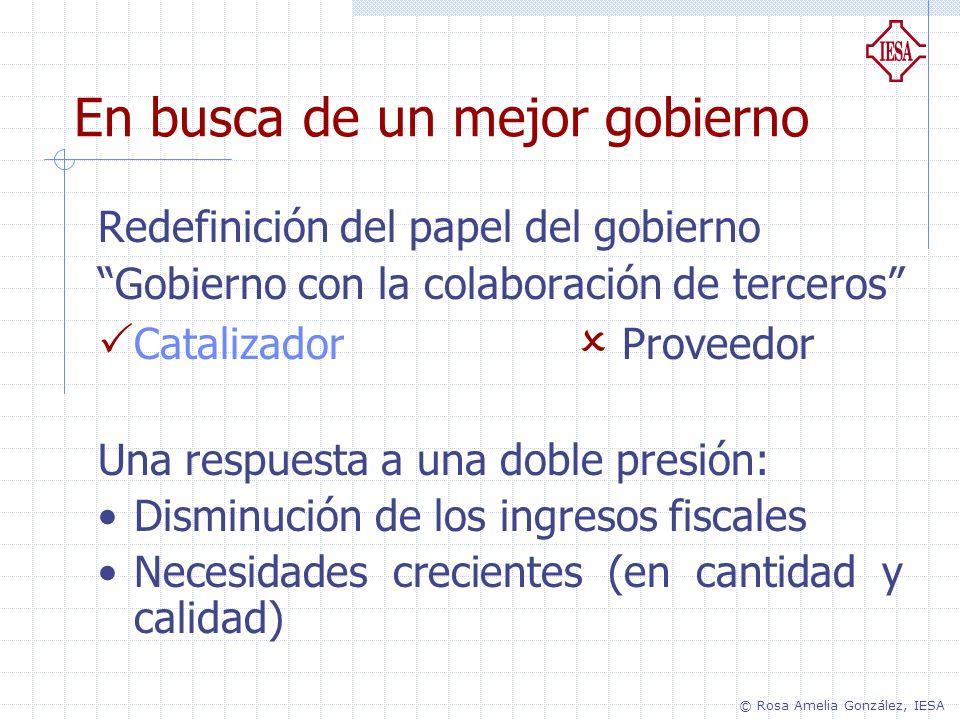 Redefinición del papel del gobierno Gobierno con la colaboración de terceros Catalizador Proveedor Una respuesta a una doble presión: Disminución de l