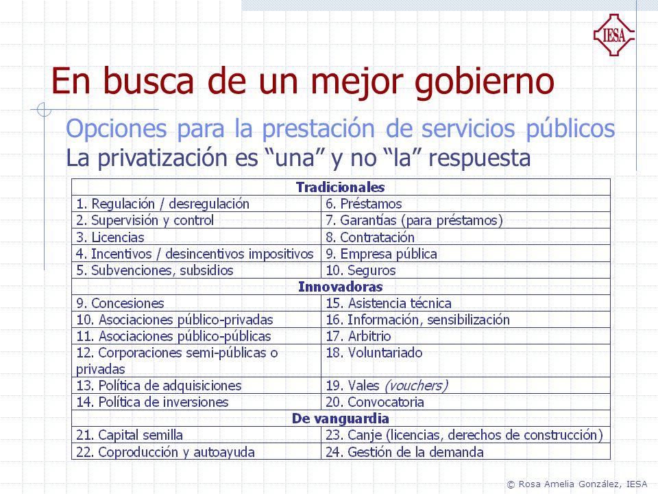 En busca de un mejor gobierno Opciones para la prestación de servicios públicos La privatización es una y no la respuesta © Rosa Amelia González, IESA