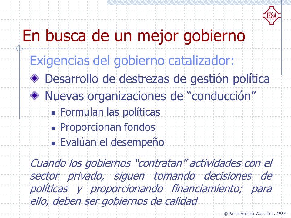 Exigencias del gobierno catalizador: Desarrollo de destrezas de gestión política Nuevas organizaciones de conducción Formulan las políticas Proporcion