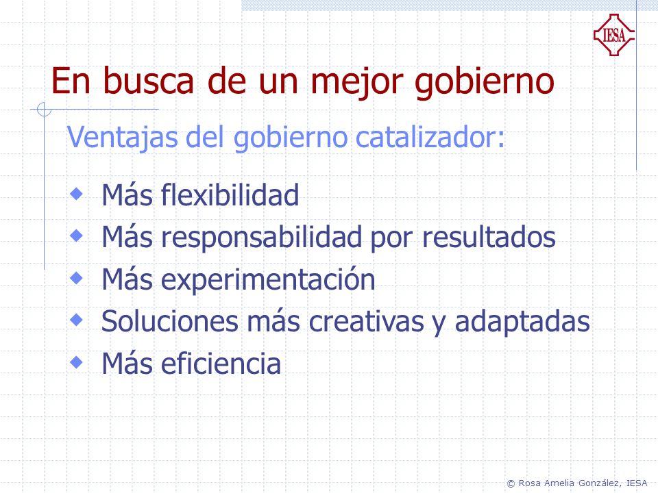 Ventajas del gobierno catalizador: Más flexibilidad Más responsabilidad por resultados Más experimentación Soluciones más creativas y adaptadas Más ef