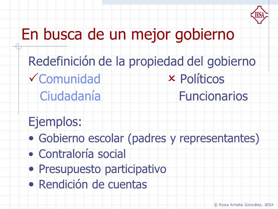 Redefinición de la propiedad del gobierno Comunidad Políticos Ciudadanía Funcionarios Ejemplos: Gobierno escolar (padres y representantes) Contraloría
