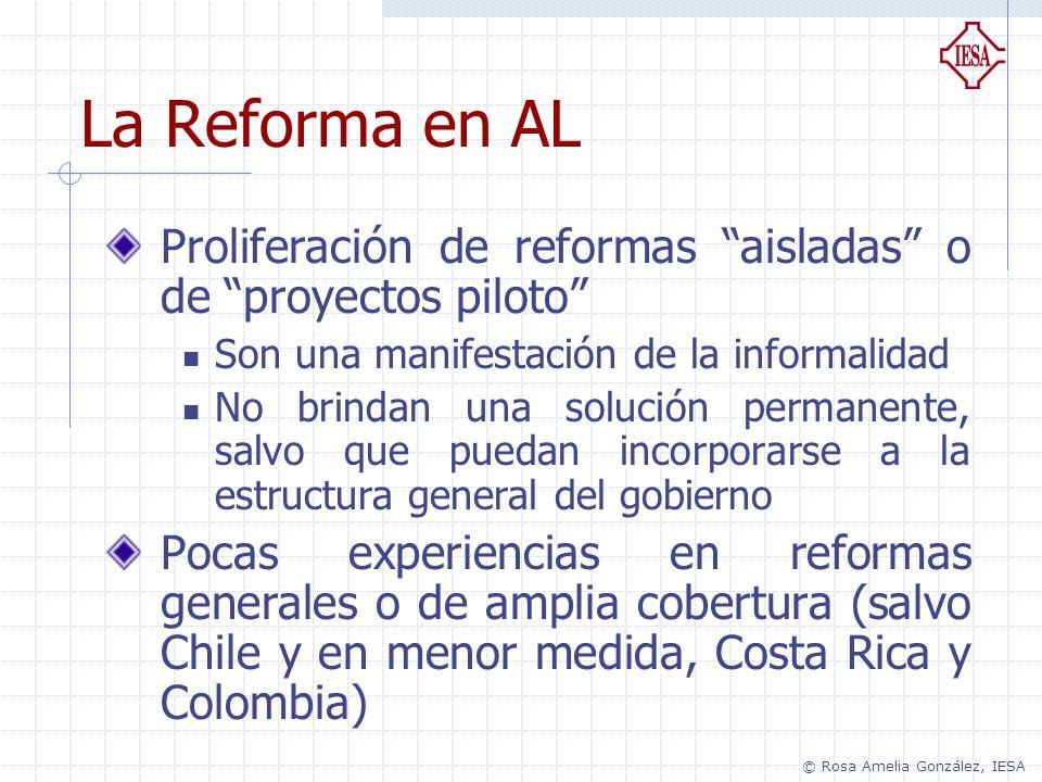 La Reforma en AL Proliferación de reformas aisladas o de proyectos piloto Son una manifestación de la informalidad No brindan una solución permanente,