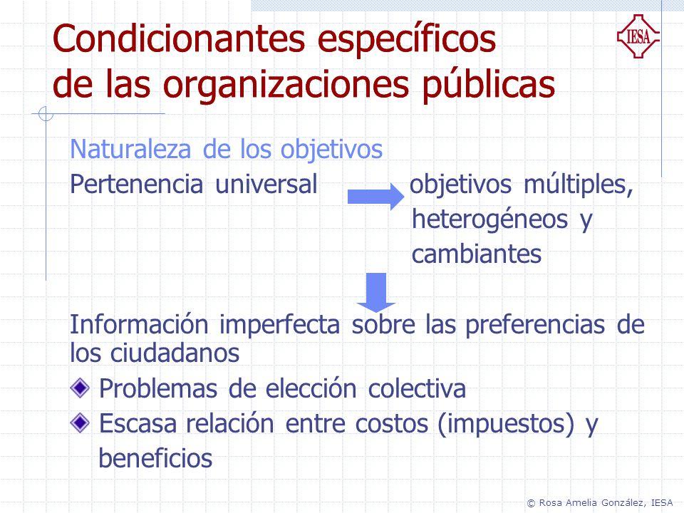 Condicionantes específicos de las organizaciones públicas Naturaleza de los objetivos Pertenencia universal objetivos múltiples, heterogéneos y cambia