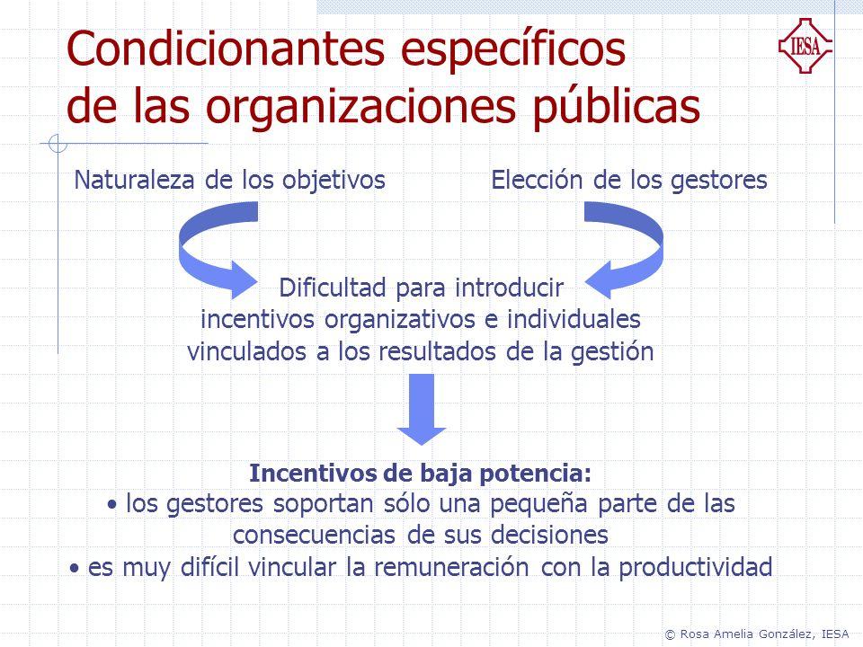 Condicionantes específicos de las organizaciones públicas Naturaleza de los objetivosElección de los gestores Dificultad para introducir incentivos or