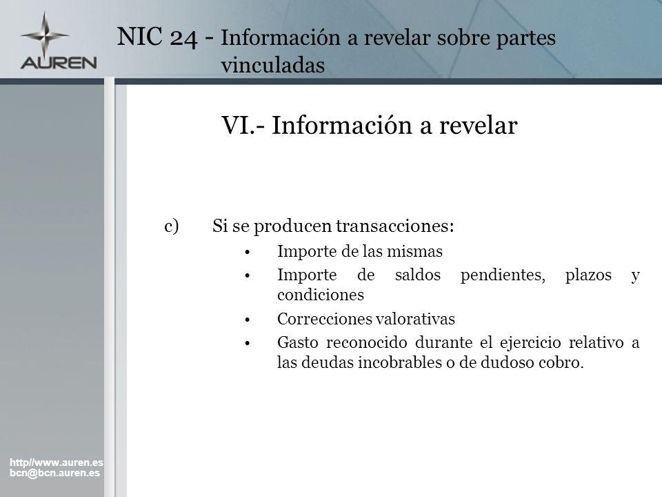 http//www.auren.es bcn@bcn.auren.es NIC 24 - Información a revelar sobre partes vinculadas VI.- Información a revelar c)Si se producen transacciones: