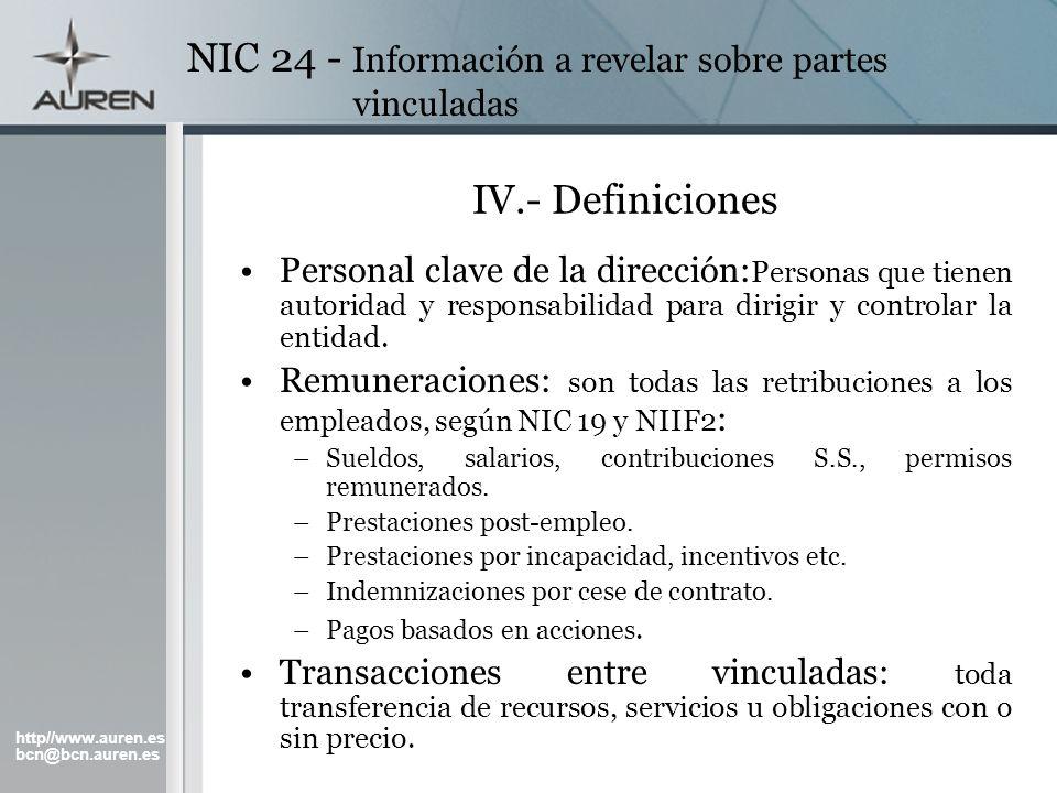 http//www.auren.es bcn@bcn.auren.es NIC 24 - Información a revelar sobre partes vinculadas IV.- Definiciones Personal clave de la dirección: Personas