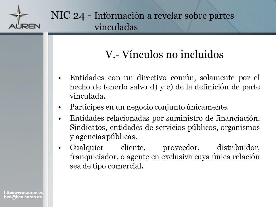 http//www.auren.es bcn@bcn.auren.es NIC 24 - Información a revelar sobre partes vinculadas V.- Vínculos no incluidos Entidades con un directivo común,