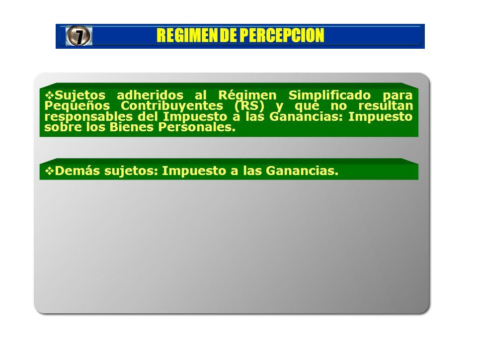 REGIMEN DE PERCEPCION Demás sujetos: Impuesto a las Ganancias.7 Sujetos adheridos al Régimen Simplificado para Pequeños Contribuyentes (RS) y que no r