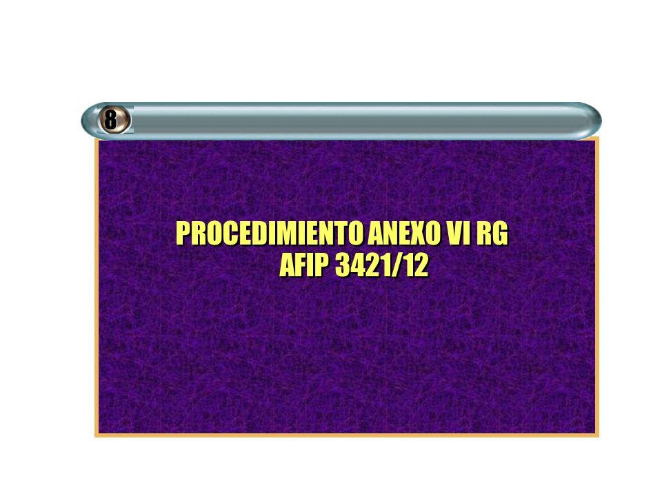 PROCEDIMIENTO ANEXO VI RG AFIP 3421/12 8