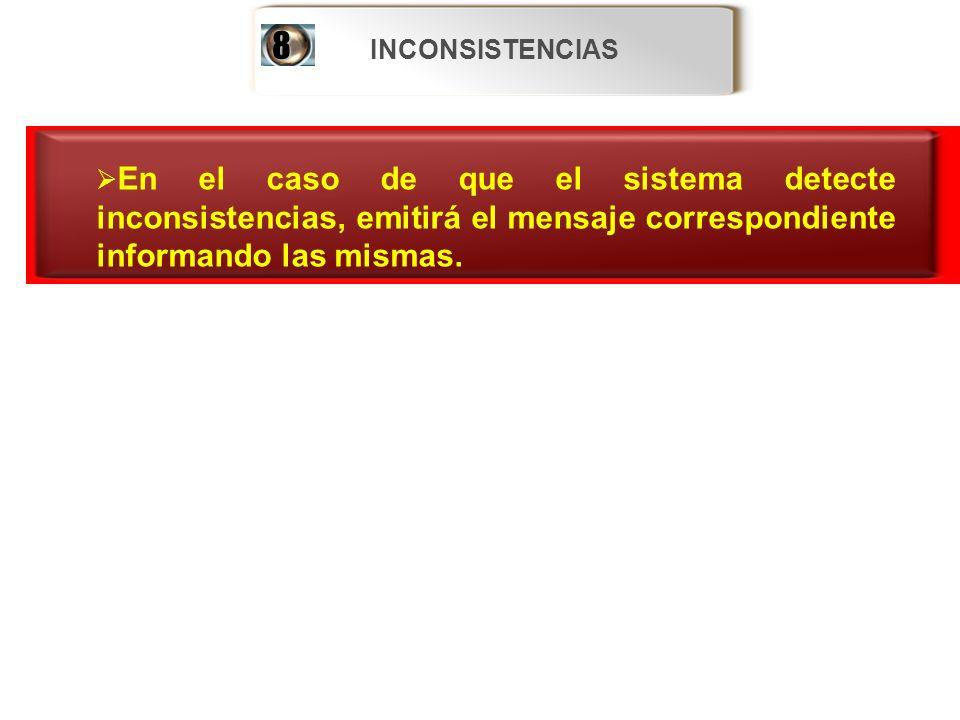 INCONSISTENCIAS En el caso de que el sistema detecte inconsistencias, emitirá el mensaje correspondiente informando las mismas. En el caso de que el s