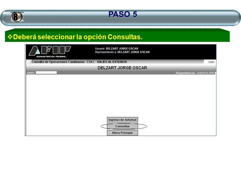 PASO 5 Deberá seleccionar la opción Consultas.8