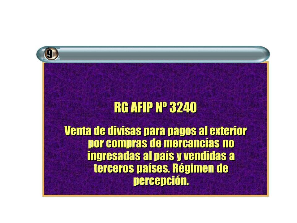 RG AFIP Nº 3240 Venta de divisas para pagos al exterior por compras de mercancías no ingresadas al país y vendidas a terceros países. Régimen de perce