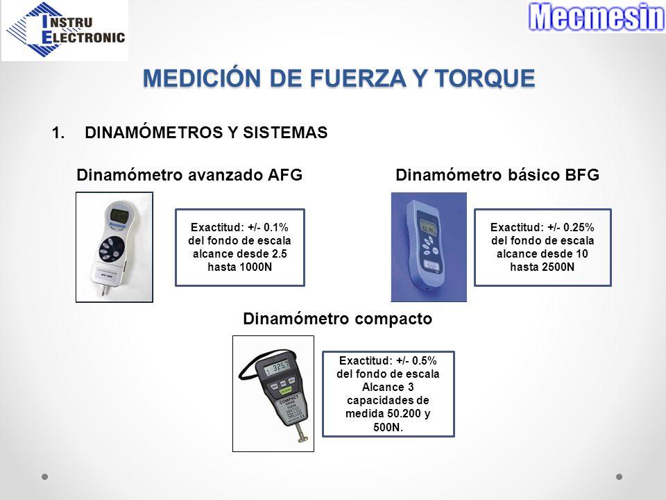 MEDICIÓN DE FUERZA Y TORQUE 1.DINAMÓMETROS Y SISTEMAS Dinamómetro avanzado AFG Dinamómetro básico BFG Dinamómetro compacto Exactitud: +/- 0.1% del fon