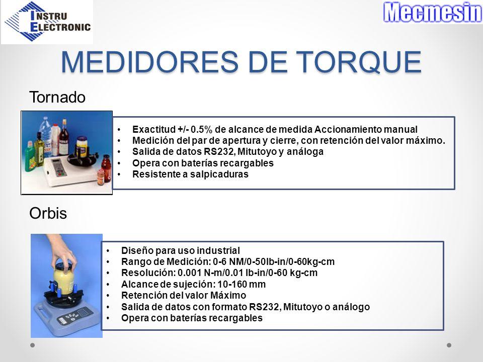 MEDIDORES DE TORQUE Tornado Orbis Exactitud +/- 0.5% de alcance de medida Accionamiento manual Medición del par de apertura y cierre, con retención de