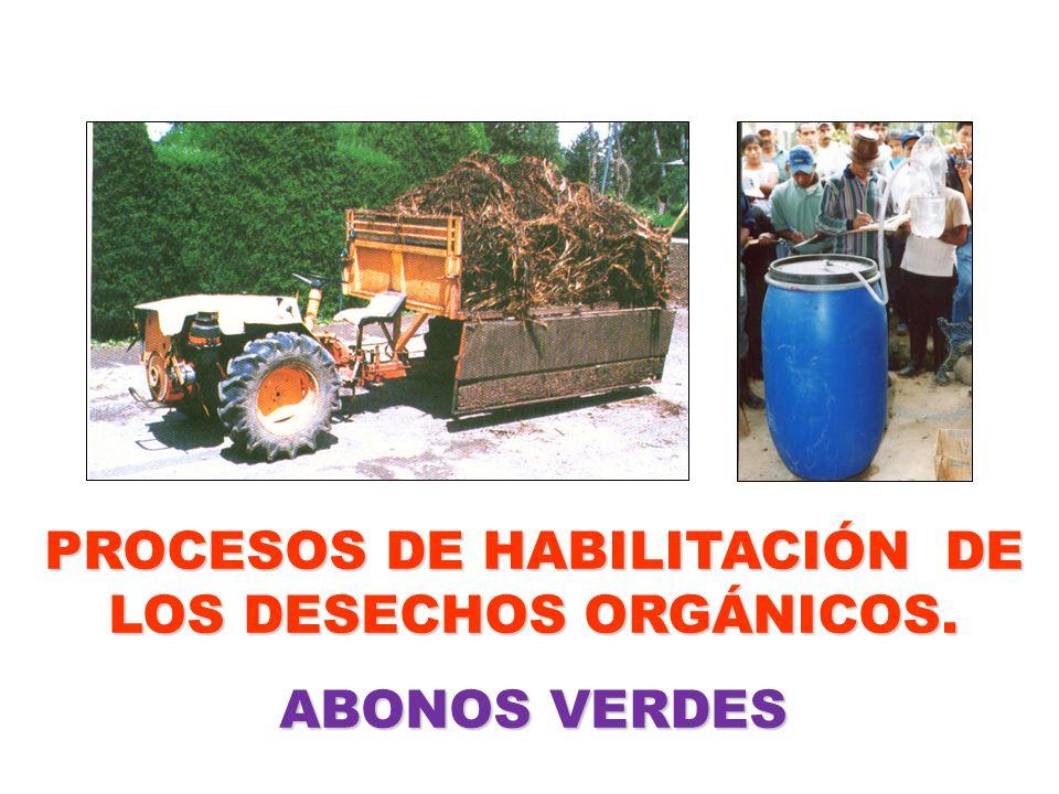 PROCESOS DE HABILITACIÓN DE LOS DESECHOS ORGÁNICOS. ABONOS VERDES