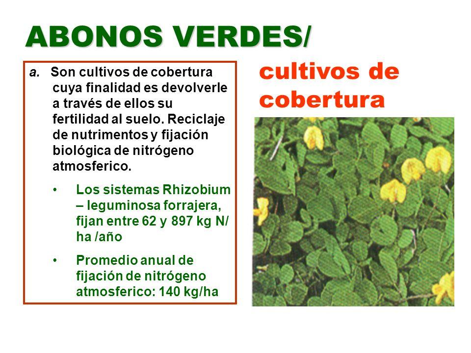 b.Se hacen mediante la siembra de plantas generalmente leguminosas solas o en asocio con cereales (centeno, avena, trigo y pasto gordura) c.También se pueden sembrar crucíferas (nabo, mostaza) d.