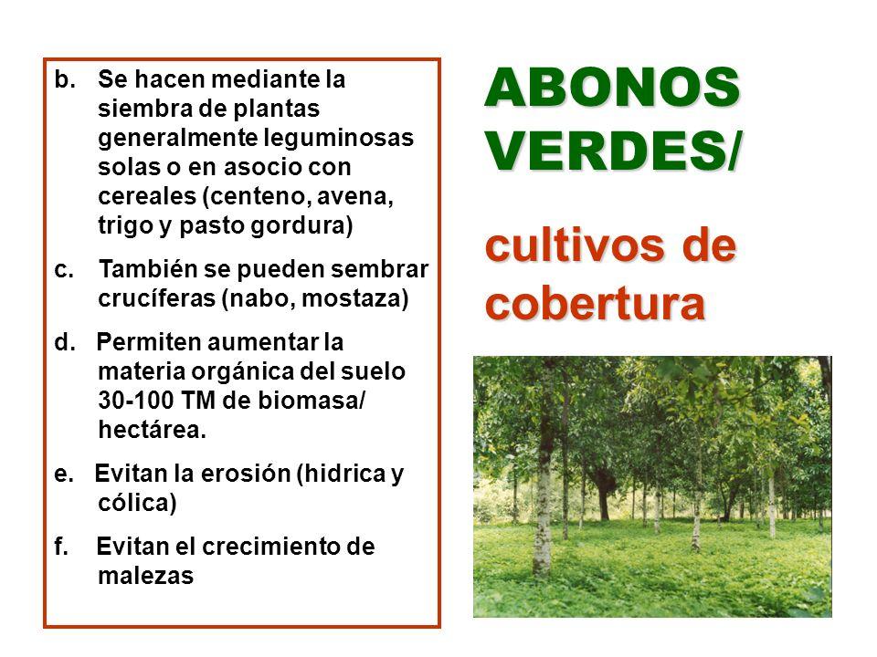b.Se hacen mediante la siembra de plantas generalmente leguminosas solas o en asocio con cereales (centeno, avena, trigo y pasto gordura) c.También se