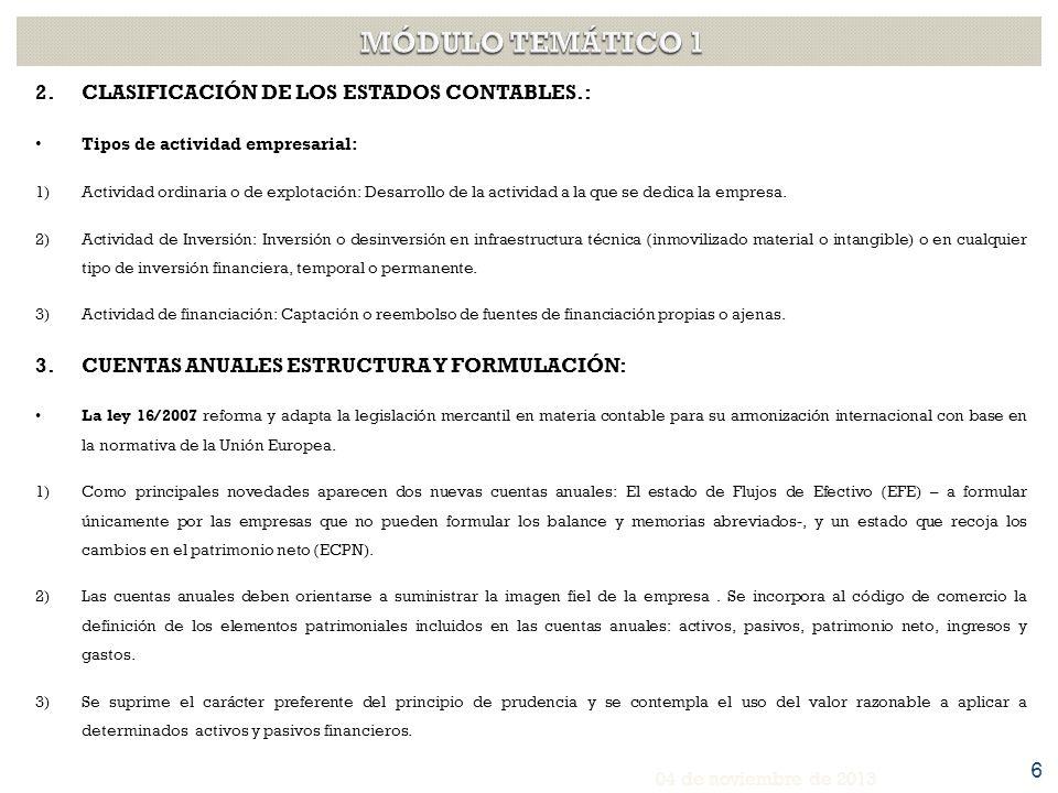 3.CUENTAS ANUALES ESTRUCTURA Y FORMULACIÓN: El Real Decreto 1514/2007 aprobó el Plan General de Contabilidad ajustado a los criterios de registro y valoración contemplados en la normativa contable internacional.