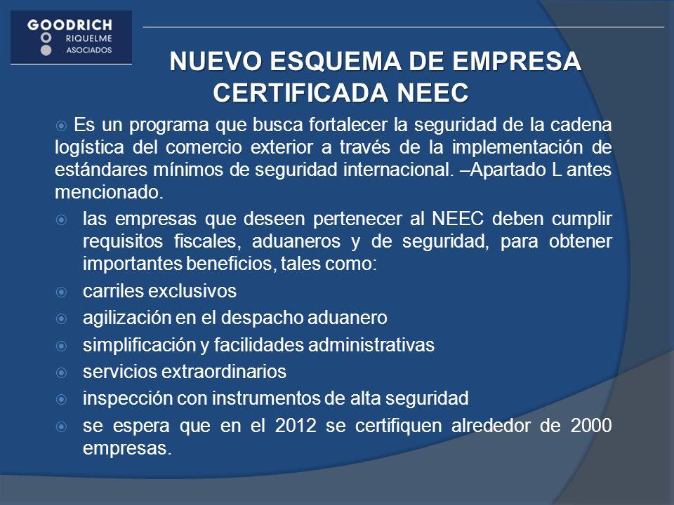 NUEVO ESQUEMA DE EMPRESA CERTIFICADA NEEC Es un programa que busca fortalecer la seguridad de la cadena logística del comercio exterior a través de la implementación de estándares mínimos de seguridad internacional.