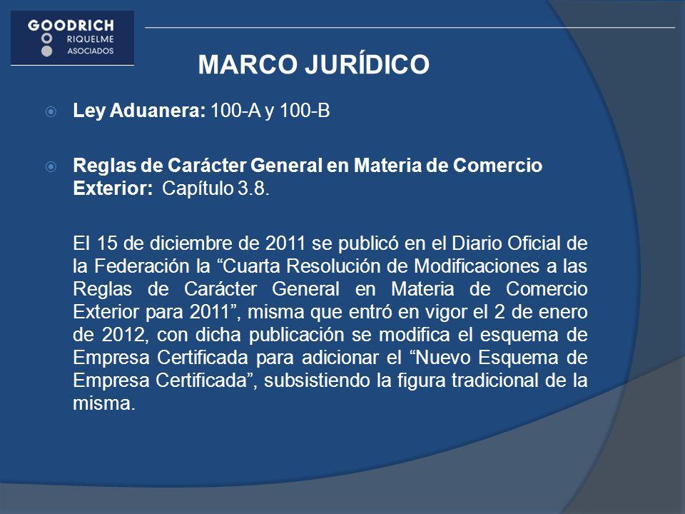 MARCO JURÍDICO Ley Aduanera: 100-A y 100-B Reglas de Carácter General en Materia de Comercio Exterior: Capítulo 3.8. El 15 de diciembre de 2011 se pub