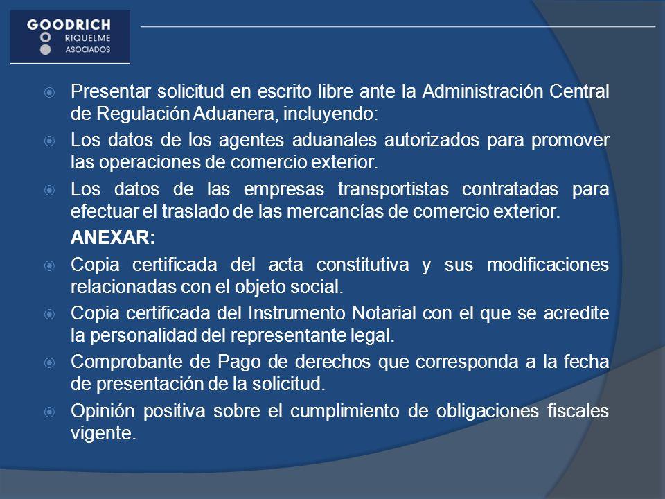 Presentar solicitud en escrito libre ante la Administración Central de Regulación Aduanera, incluyendo: Los datos de los agentes aduanales autorizados para promover las operaciones de comercio exterior.