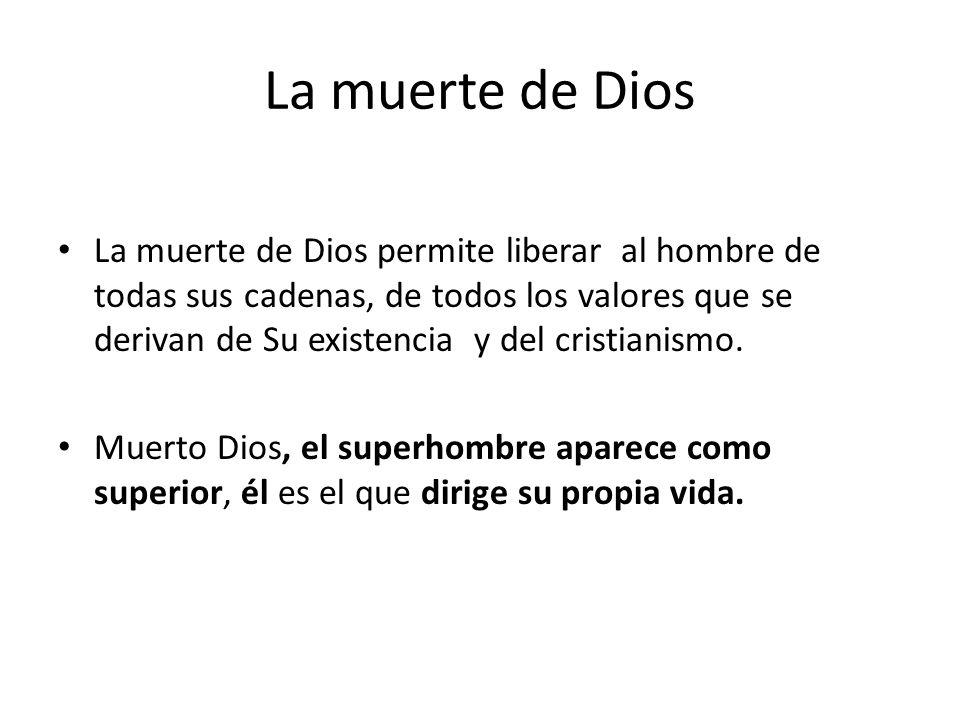 La muerte de Dios La muerte de Dios permite liberar al hombre de todas sus cadenas, de todos los valores que se derivan de Su existencia y del cristia