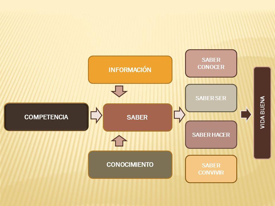 INFORMACIÓN SABER CONOCIMIENTO COMPETENCIA SABER CONOCER SABER SER SABER HACER SABER CONVIVIR VIDA BUENA