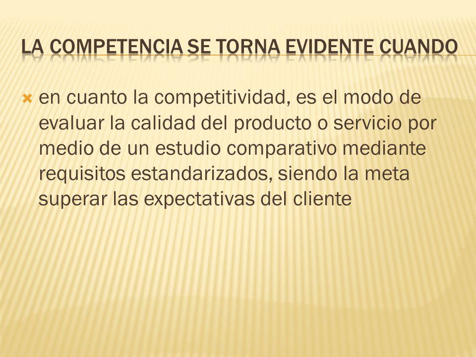 en cuanto la competitividad, es el modo de evaluar la calidad del producto o servicio por medio de un estudio comparativo mediante requisitos estandar